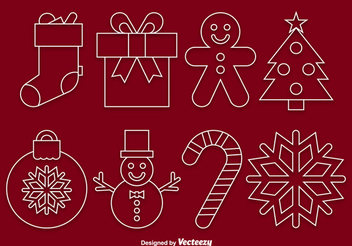 Funky Linear Christmas Icon Set - Free vector #338431