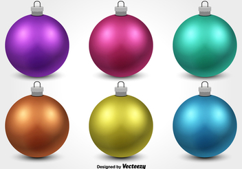 Glossy Christmas Ornament Set - Free vector #338851