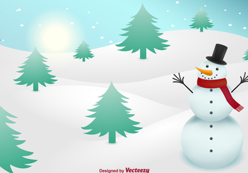 Snowman Christmas Snowy Landscape - Free vector #338861