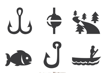Fishing Gray Icons - бесплатный vector #339251