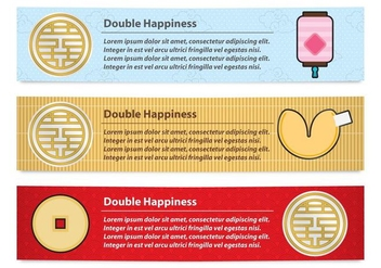Double Happiness Banners - vector gratuit #339331