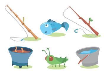 Fishing Rod Vector Set - Kostenloses vector #339451