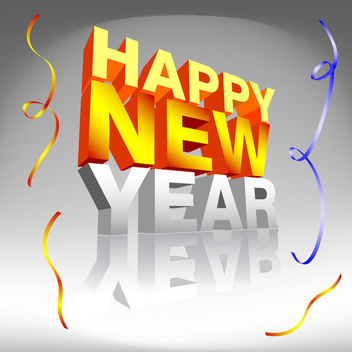 Happy New Year with confetti - vector gratuit #339541