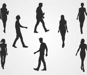 Walking People Silhouettes - vector gratuit #341031