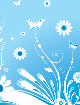 Butterflies with Flowers - vector gratuit #341051