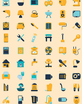 Household Flat Icons - vector gratuit #341171