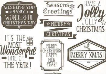 Messy hand Drawn Style Christmas Label Set - vector gratuit #341621