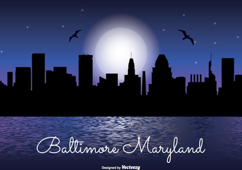 Baltimore Maryland Night Skyline - Kostenloses vector #341631