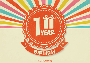 Retro 1st Birthday Illustration - Free vector #341781