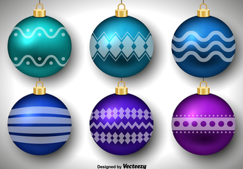 Glossy Decorative Christmas Ball Set - vector gratuit #341811