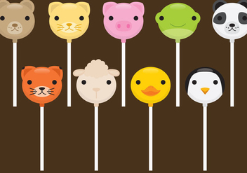 Cute Animals Cake Pops - Free vector #341901