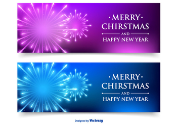 Beautiful Christmas / New Year Banner Set - vector gratuit #341941