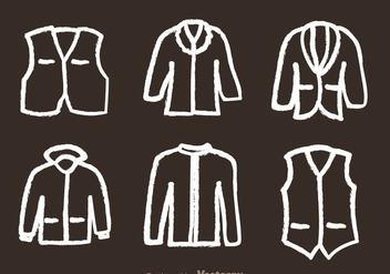 Jacket Chalk Draw Icons - vector gratuit #341981