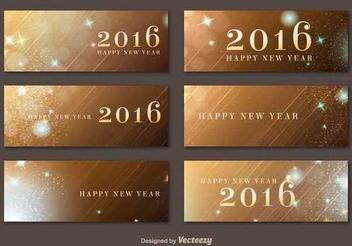 New Year 2016 Golden Banners - Kostenloses vector #342011
