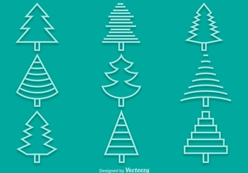 Linear Pine Tree Icon Pack - Free vector #342021