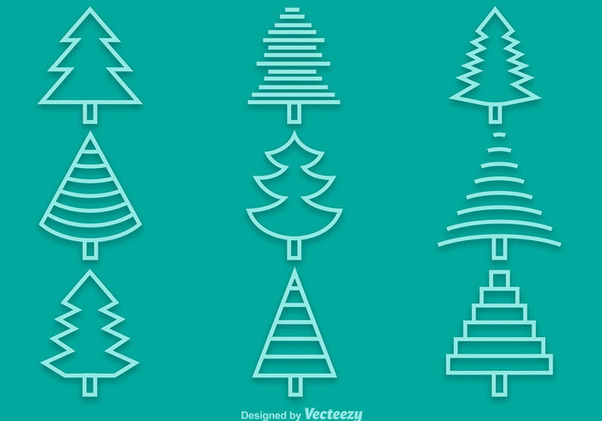 Linear Pine Tree Icon Pack - vector gratuit #342021