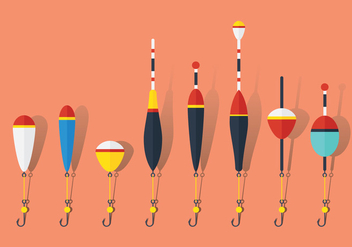 Flat Fish Hooks with Floats - Free vector #342331