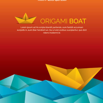 Origami Boat and water - vector gratuit #342411