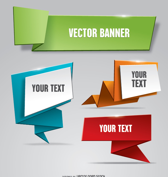 Folded paper banner Origami style - Free vector #342421