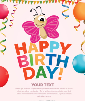Girl birthday Invitation card - vector gratuit #342431