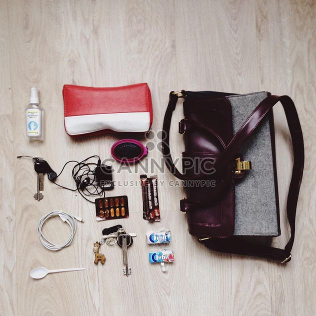 Still life of purse, key pair, player, gum, comb, usb for iphone - Free image #342531