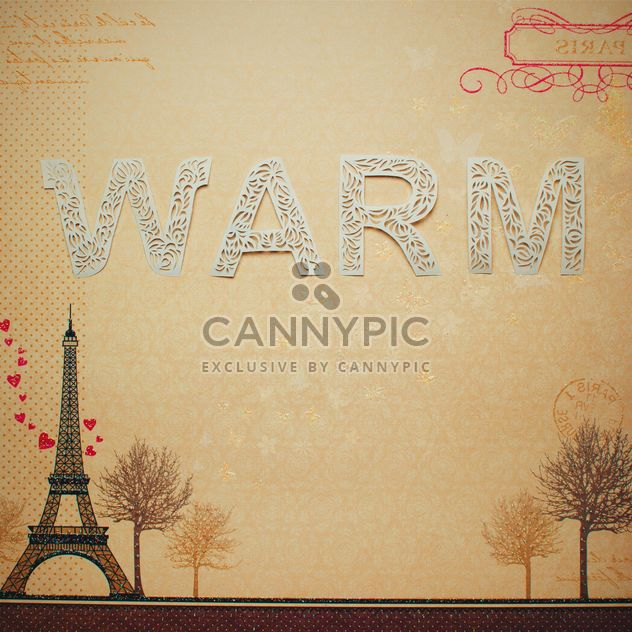 Word warm made of lace letters on french background - Free image #342541