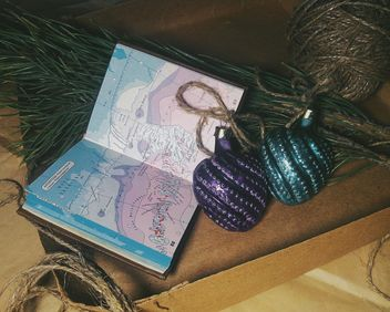 Christmas decorations, box, pine, and map - Free image #342551