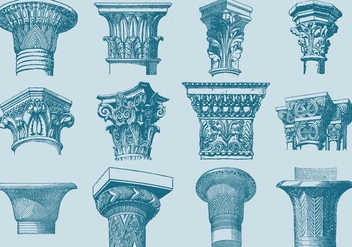 Old Style Drawing Column Capitals - Free vector #343381