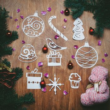 Christmas still life with paper cutting - бесплатный image #343611