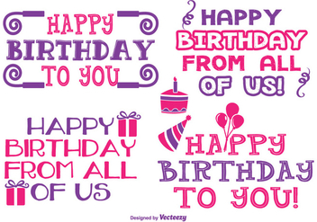 Cute Birthday Label Set - Kostenloses vector #344671