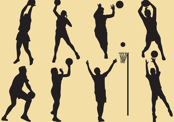 Netball Silhouettes - Kostenloses vector #344691