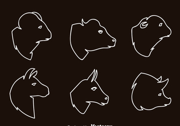 Mammals Head Outline Icons - vector #344831 gratis