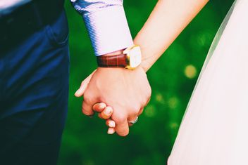 Wedding couple holding hands closeup - Free image #345101