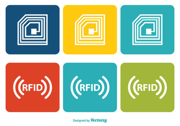Colorful RFID Icon Set - vector gratuit #345151