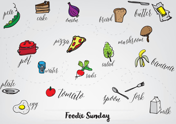Free Hand Drawn Food Collection Vector Background - Free vector #345271
