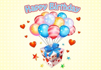 Happy Birthday Balloons Free Vector - vector #345351 gratis