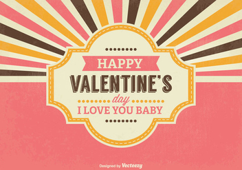 Retro Valentine's Day lllustration - vector gratuit #345411