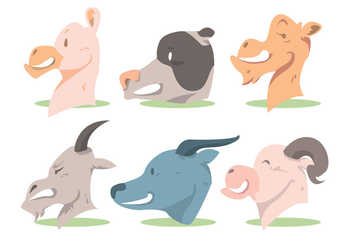 Animal Head Vector Set - Free vector #345461