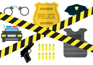 Vector Set of Police Equipment - vector gratuit #345511