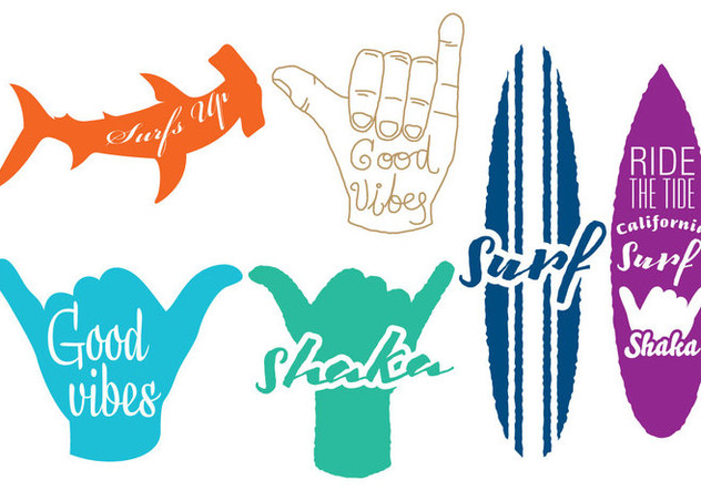 Surf And Shaka Logos - Free vector #345681