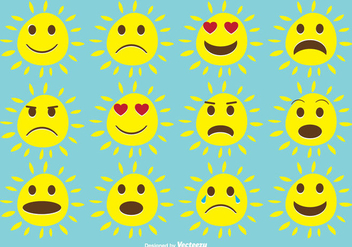 Cute Expressive Sun Set - vector gratuit #346131