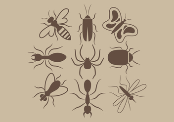 Insects Silhouettes Vector - vector gratuit #346441