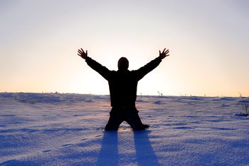 Silhouette of man on snow - Free image #346631