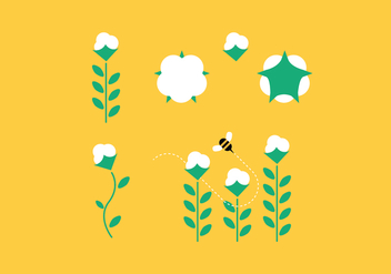 Cotton Plant Set - vector gratuit #346641
