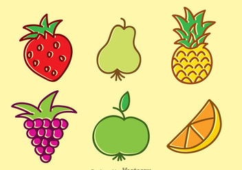 Tropical Fruits Cartoon Set - бесплатный vector #346701