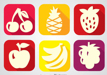 Fruits Long Shadow Icon Vectors - vector gratuit #346751