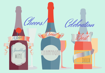 Free Various Modern Flat Champagne Vector Background - Kostenloses vector #346761