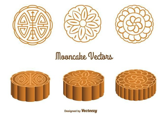 Cute Mooncake Vectors - Free vector #346771