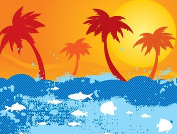Abstract Sea Beach Sunset - Free vector #346861