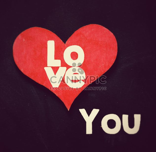 Love you message and red heart on black background - image gratuit #346921
